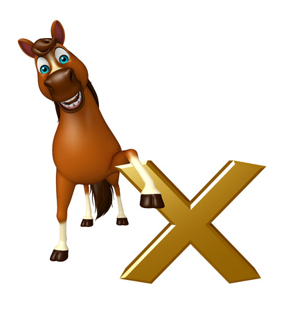 3d rendered illustration of Horse cartoon character with cross sign