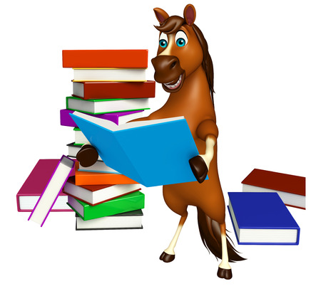 3d rendered illustration of Horse cartoon character with books