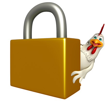 toonimal: 3d rendered illustration of   Hen cartoon character with lock