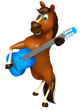horse pipes: 3d rendered illustration of Horse cartoon character with guitar