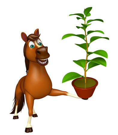 chlorophyll: 3d rendered illustration of Horse cartoon character with plant