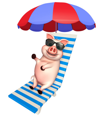 protective eyewear: 3d rendered illustration of Pig cartoon character with sunglass and beach chair Stock Photo