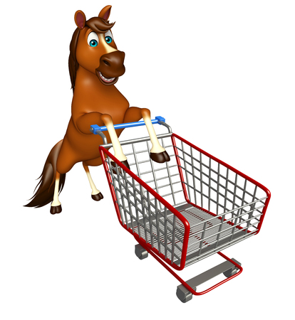 trolly: 3d rendered illustration of Horse cartoon character with trolly