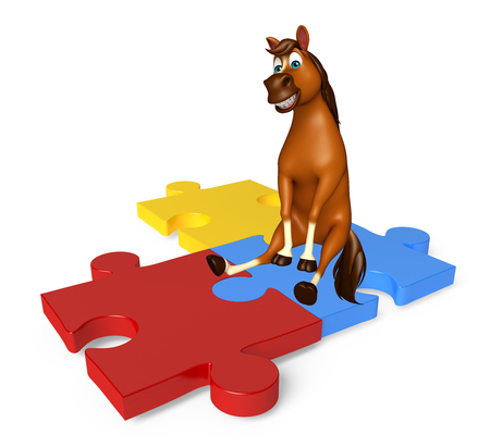 jig saw puzzle: 3d rendered illustration of Horse cartoon character with puzzle sign