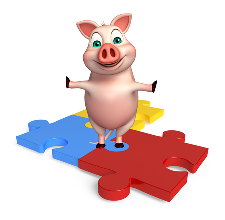 jig: 3d rendered illustration of Pig cartoon character with puzzle