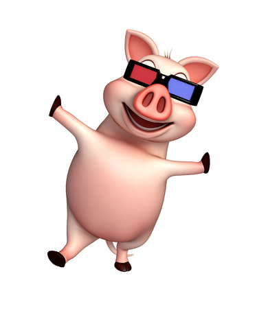 cinema viewing: 3d rendered illustration of Pig cartoon character with 3D glasses