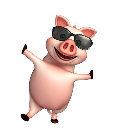 3d rendered illustration of Pig cartoon character with sunglasses Stock Photo