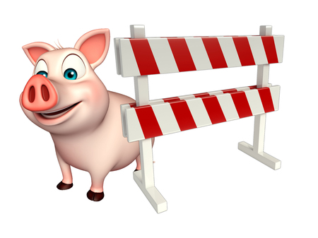 constuction: 3d rendered illustration of Pig cartoon character with baracade