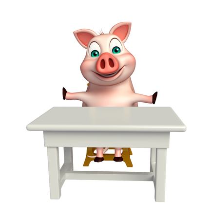 tabletop: 3d rendered illustration of Pig cartoon character with table and chair