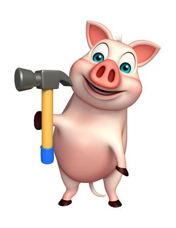 pig iron: 3d rendered illustration of Pig cartoon character with hammer