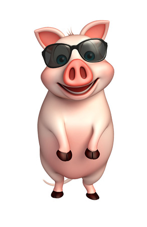 eyewear fashion: 3d rendered illustration of Pig cartoon character with sunglasses Stock Photo