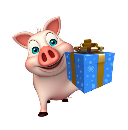 3d rendered illustration of Pig cartoon character with giftbox Stock Photo