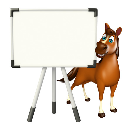 display board: 3d rendered illustration of Horse cartoon character with display board
