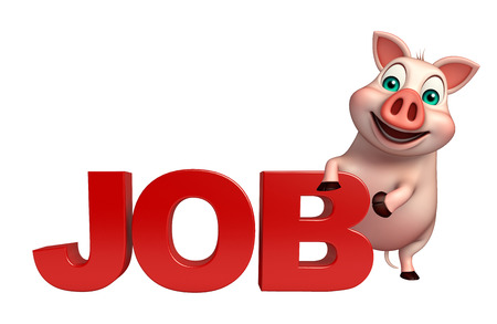 job hunting: 3d rendered illustration of Pig cartoon character with job sign Stock Photo