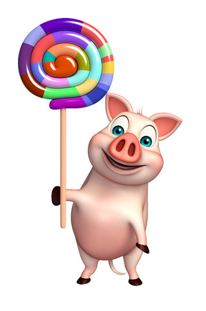 lollypop: 3d rendered illustration of Pig cartoon character with lollypop