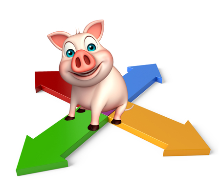 arrowhead: 3d rendered illustration of Pig cartoon character with arrow