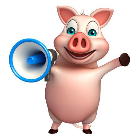 loud speaker: 3d rendered illustration of Pig cartoon character with loud speaker