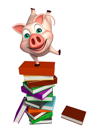 3d rendered illustration of Pig cartoon character with books
