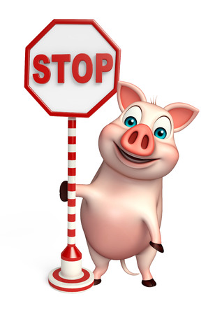 drive ticket: 3d rendered illustration of Pig cartoon character with stop sign