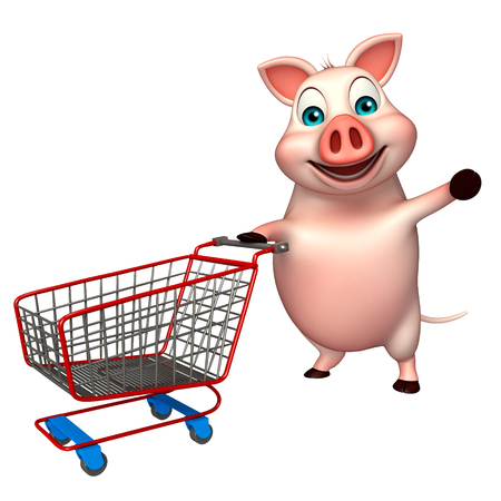 trolly: 3d rendered illustration of Pig cartoon character with trolly