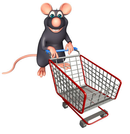 whisker characters: 3d rendered illustration of Rat cartoon character with trolly Stock Photo