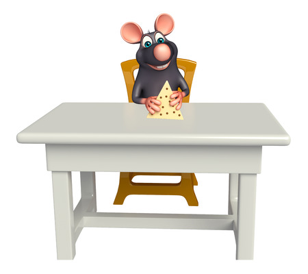 tabletop: 3d rendered illustration of Rat cartoon character with table and chair Stock Photo