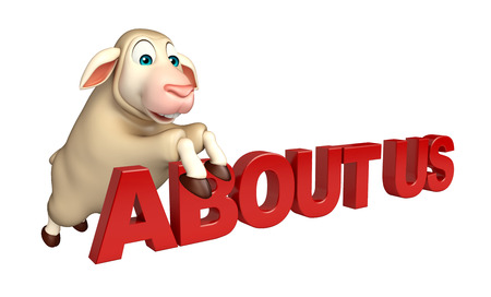 'about us': 3d rendered illustration of Sheep cartoon character with about us sign Stock Photo