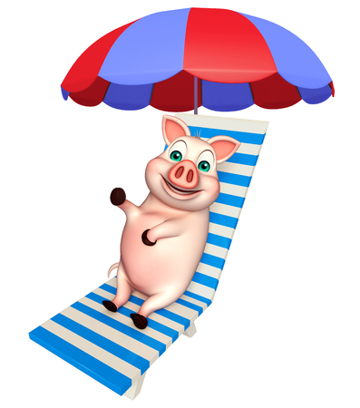 3d rendered illustration of Pig cartoon character with beach chair Фото со стока