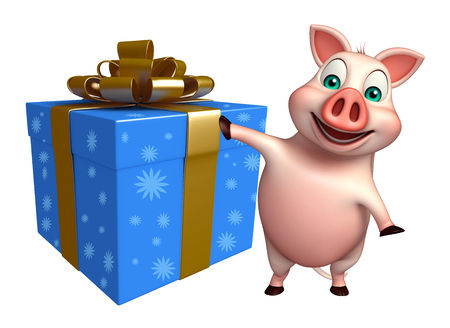 giftbox: 3d rendered illustration of Pig cartoon character with giftbox Stock Photo
