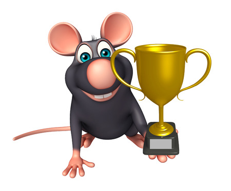 whisker characters: 3d rendered illustration of Rat cartoon character with winning cup