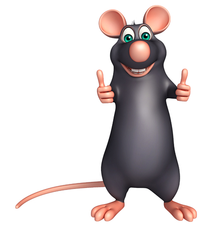 whisker characters: 3d rendered illustration of thumbs up  Rat cartoon character
