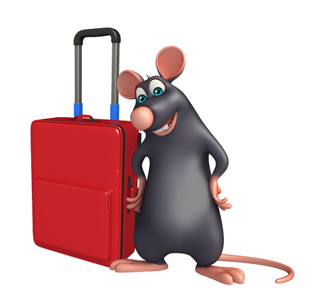 whisker characters: 3d rendered illustration of Rat cartoon character with travel bag