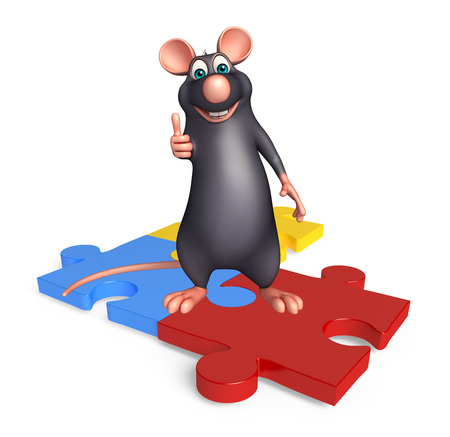 jig saw: 3d rendered illustration of Rat cartoon character with puzzle Stock Photo