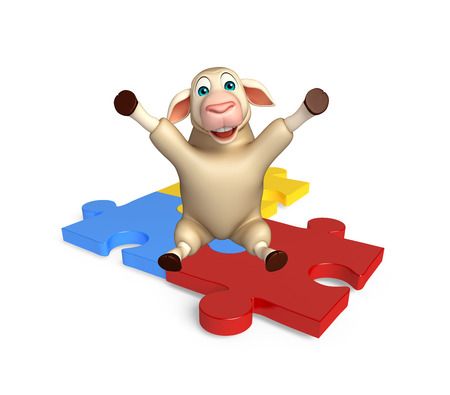 jig saw puzzle: 3d rendered illustration of Sheep cartoon character with puzzle