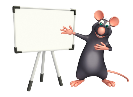 whisker characters: 3d rendered illustration of Rat cartoon character with display board