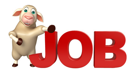 job hunting: 3d rendered illustration of Sheep cartoon character with job sign Stock Photo