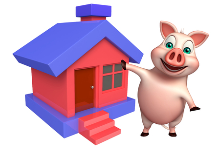 carnivora: 3d rendered illustration of Pig cartoon character with home