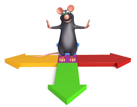 whisker characters: 3d rendered illustration of Rat cartoon character with arrow