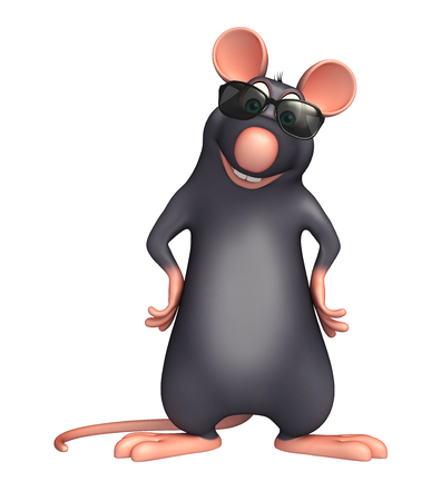 protective eyewear: 3d rendered illustration of Rat cartoon character with sunglass