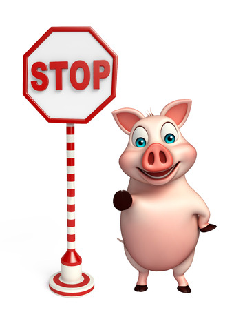 zoo traffic: 3d rendered illustration of Pig cartoon character with stop sign