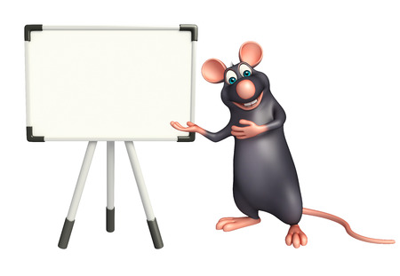 display board: 3d rendered illustration of Rat cartoon character with display  board