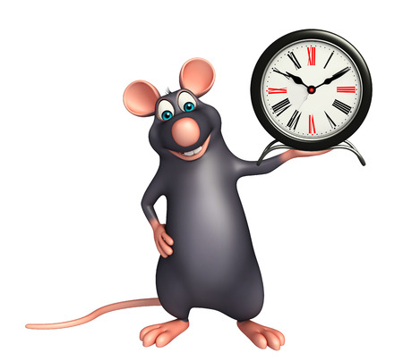 whisker characters: 3d rendered illustration of Rat cartoon character  with clock