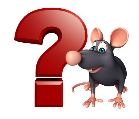 whisker characters: 3d rendered illustration of Rat cartoon character with question sign