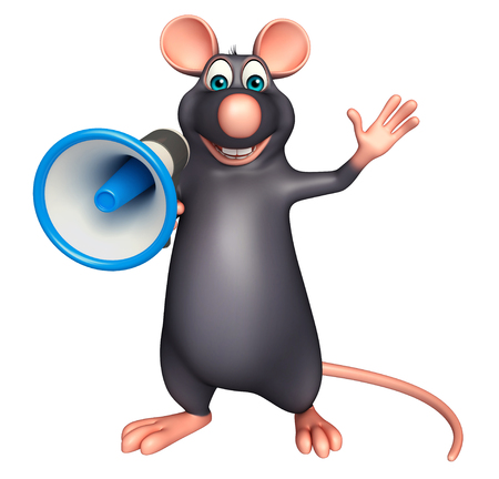 3d rendered illustration of Rat cartoon character with loud speaker Stock Photo