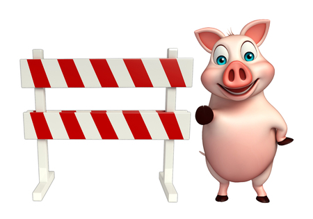 security lights: 3d rendered illustration of Pig cartoon character with baracade