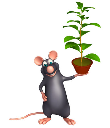 whisker characters: 3d rendered illustration of Rat cartoon character with plant Stock Photo