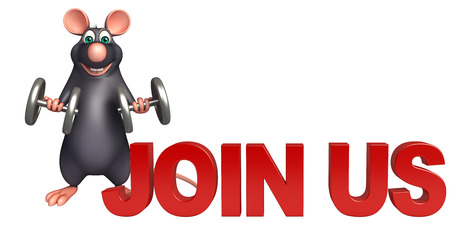 whisker characters: 3d rendered illustration of Rat cartoon character with join us sign