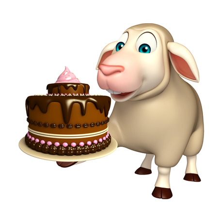savoury: 3d rendered illustration of Sheep cartoon character with cake