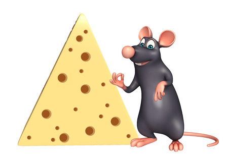 whisker characters: 3d rendered illustration of Rat cartoon character with paneer