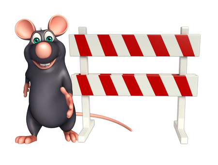 constuction: 3d rendered illustration of Rat cartoon character with baracade Stock Photo